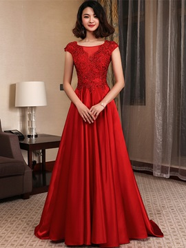 Elegant A Line Beading Round Neck Appliques Floor Length Evening Dress