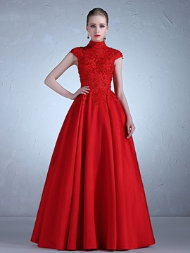 Fancy High Neck Appliques Beading A Line Cap Sleeves Evening Dress