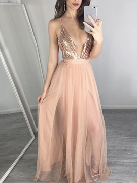Spaghetti Straps Ruched Sequins Evening Dress