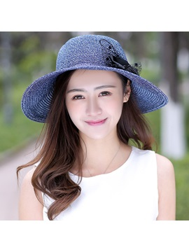 Sunscreen Solid Color All Matched Bowknot Straw Hat