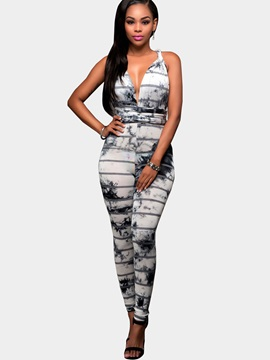 Skinny Ink Printing Backless Jumpsuits