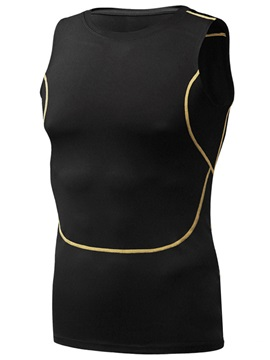 Solid Color Snug Fitting Quick Drying Men Sleeveless Sport Top