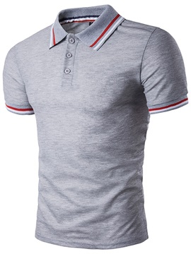 Stripe Buttons Lapel Mens Leisure T Shirt