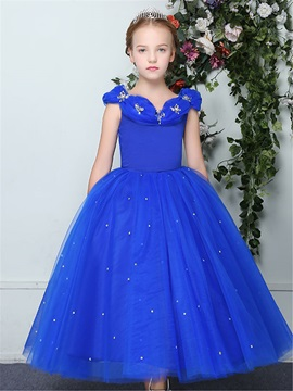 Dramatic Straps Pick Ups Beading Girl Party Dress