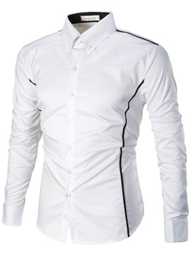 Stripe European Lapel Mens Casual Shirt