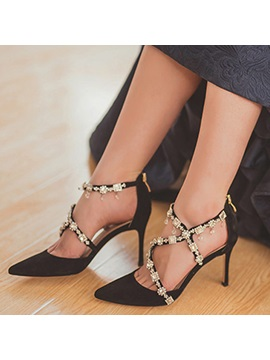 Silk Fabric Zipper Rhinestone Pointed Toes