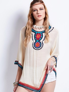 Round Neck Ethnic Embroidery Blouse
