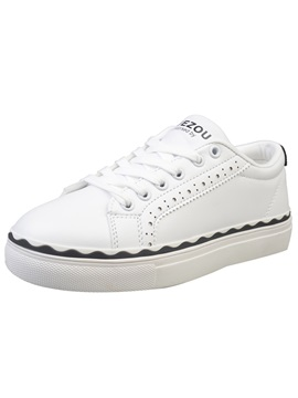Pu Hollow Lace Up Nice White Sneakers