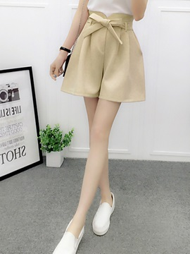High Waist Bowknot Wide Legs Shorts