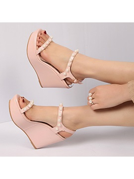 Pu Line Style Buckle Womens Wedges