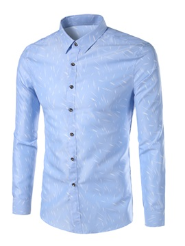 Plain Floral Print Leisure Mens Shirt