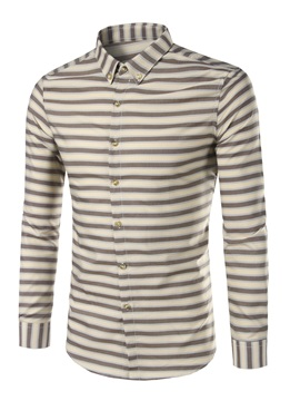 Straight Stripe Lapel Mens Vogue Shirt