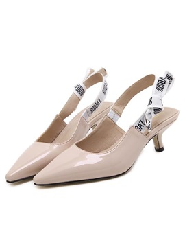 Pu Light Apricot Elastic Thread Womens Pumps