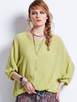 Loose Round Neck Plain Womens Blouse