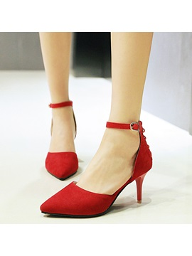 Suede Cross Strap Hollow Chic Womens Pumps