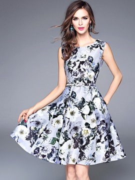 Vogue Floral Imprint Sleeveless Skater Dress
