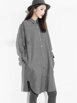 Lapel Loose Mid Length Shirt