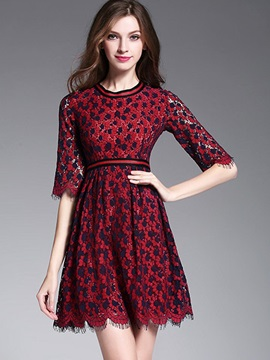 Round Neck Half Sleeve Lace Dress