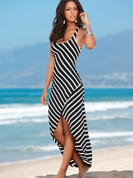 Strips Print Asymmetrical Womens Dress