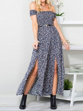 Floral Slit Off Shoulder Womens Dress