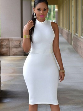 Pure Color Sleeveless Slim Bodycon Dress