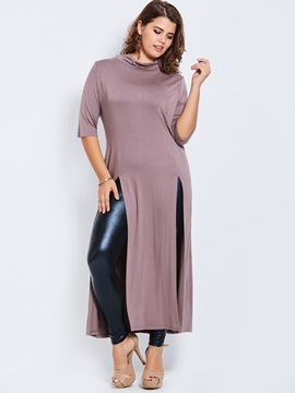Slim Plus Size Plain Mid Length T Shirt