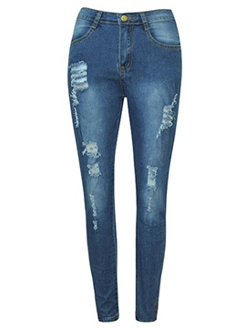 Skinny Worn Hole Patchwork Jeans
