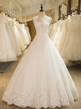Dramatic Straps Ball Gown Appliques Beading Wedding Dress