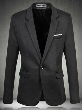 Single Button Notched Lapel Mens Blazer