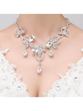 Rhinestone Flowers Design Charming Wedding Necklace Earrings
