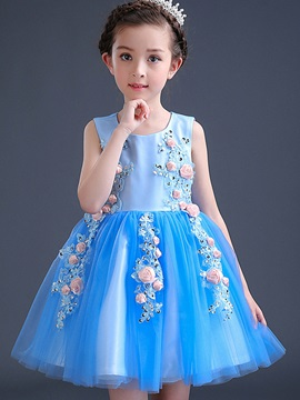 Sweet Appliques Princess Girls Dresses