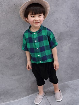 Cute Stripe Short Sleeves 2 Piece Boys Outfits