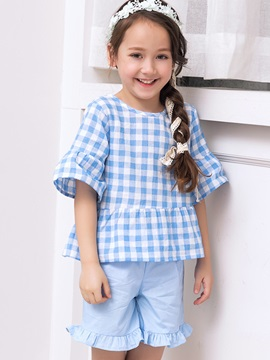 Sweet Plaid Mid Sleeve Girls Outfits