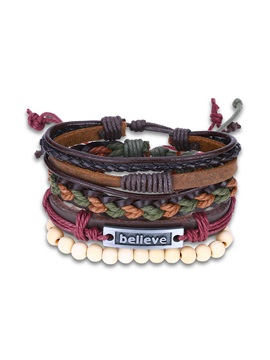 Believe Carved Multilayer Leather Beading Bracelet