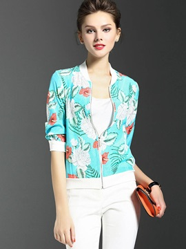 Slim Plant Print Thin Jacket