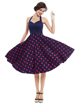 Polka Dots V Neck Backless Expansion Dress