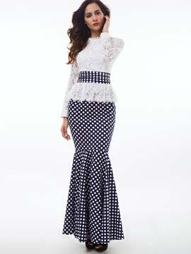 Lace Patchwork Polka Dots Mermaid Dress