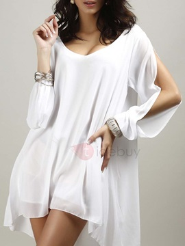Open Sleeves Round Neck Casual Dress