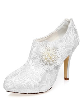 Lace Zipper Pointed Toe Womens Wedding Shoes