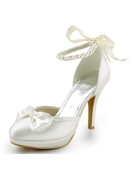 Silk Fabric Beads Bow Wedding Shoes