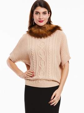 Faux Fur Collar Twist Pattern Knitwear