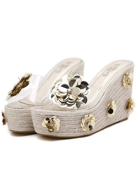 Slip On Appliques Rhinestone Womens Wedge Sandals