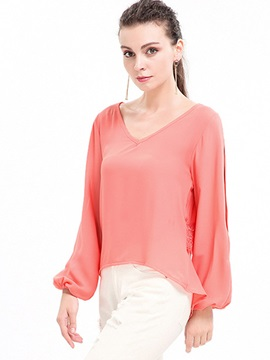 V Neck Chiffon Slit Blouse