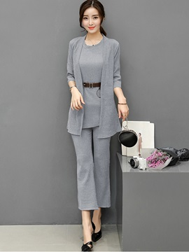 Plain Wrapped Designed Three Piece Outfit