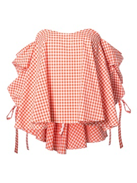 Chic Plaid Cold Shoulder Lantern Sleeve Blouse