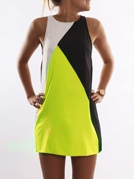 Color Block A Linea Short Dress
