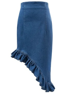 High Waist Denim Asymmetric Falbala Pleated Skirt