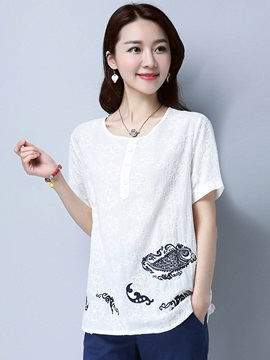 Loose Print Embroidery T Shirt