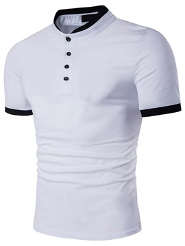 Slim Buttons Simple Mens Leisure T Shirt