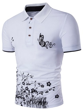 Flower Butterfly Straight Mens Fashion T Shirt